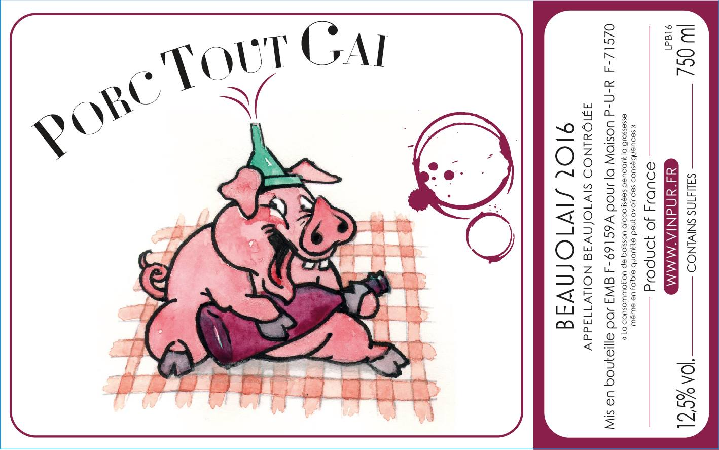 Porc tout gai - vin naturel - Beaujolais naturel - Cyril Alonso - PUR